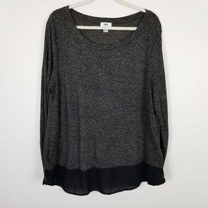 Old Navy Gray Long Sleeve Top w/ Black Hem Size XL